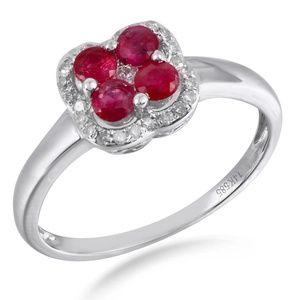Ruby 14K White Gold Diamond Floral Ring